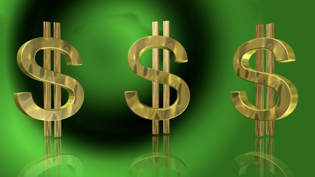 EMT Salary Dollar Signs Green Background