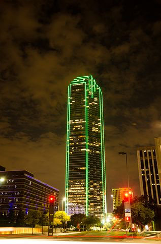 Dallas Texas highrise at night