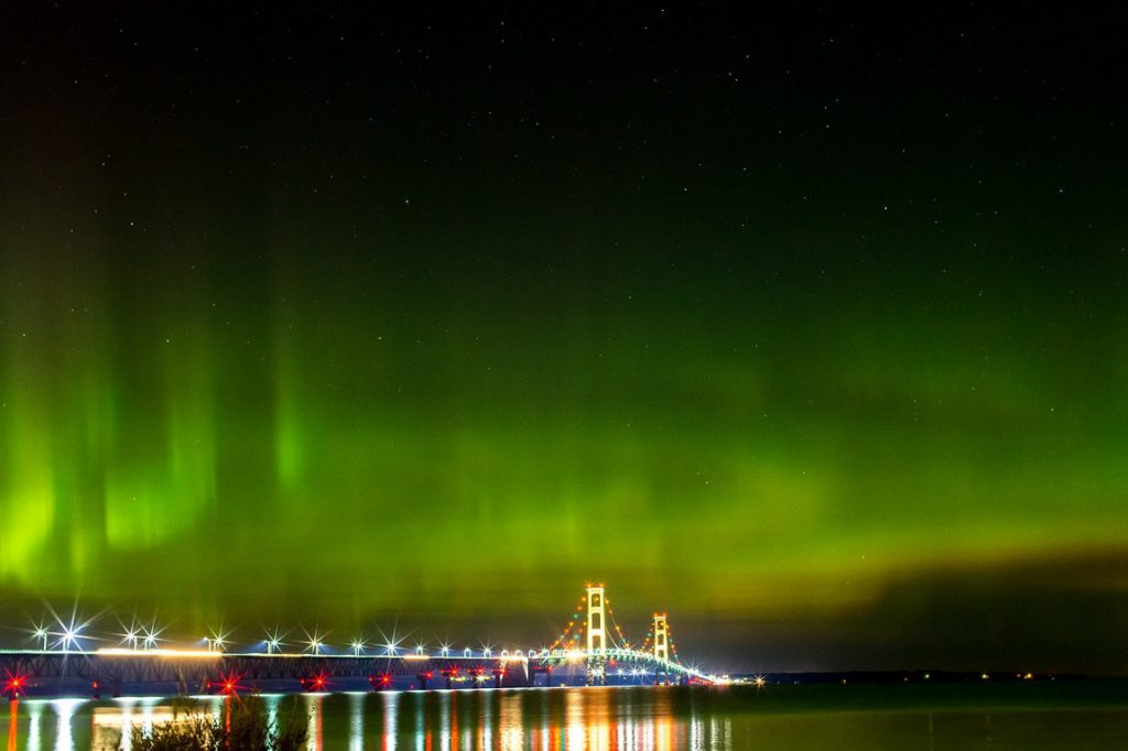 Michigan Mackinac Bridge Northern Lights
